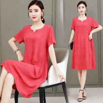 Dress Summer 2021 White, green, red, yellow, rose, blue, brick red XL [90-105 Jin recommended], 2XL [105-120 Jin recommended], 3XL [120-135 Jin recommended], 4XL [135-150 Jin recommended], 5XL [150-165 Jin recommended] Mid length dress Short sleeve commute V-neck Loose waist Solid color Others