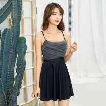 one piece  Mu Tao M,L,XL,XXL black Skirt one piece With chest pad without steel support female Sleeveless Casual swimsuit