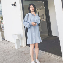 Dress Spring 2020 Pink, blue S, M Mid length dress singleton  Long sleeves commute Polo collar Loose waist Solid color Single breasted Ruffle Skirt bishop sleeve Others Type H chic moss Korean version Ruffles, buttons 3.07Q-5001 31% (inclusive) - 50% (inclusive) other
