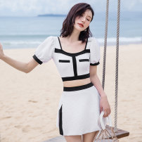 Split swimsuit Changning Black, white M,L,XL Skirt split swimsuit With chest pad without steel support Nylon, spandex female square neck