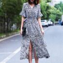 Dress Summer of 2019 black M,L,XL,2XL longuette singleton  elbow sleeve commute V-neck High waist Decor Socket A-line skirt pagoda sleeve Retro Tuck, lace up LQ19093 More than 95% Chiffon