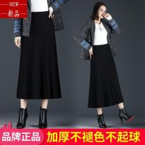 skirt Spring 2021 Average size Black, brown Middle-skirt Versatile A-line skirt Solid color Other / other