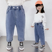 trousers Other / other female 100cm,110cm,120cm,130cm,140cm,150cm,160cm spring and autumn trousers Korean version There are models in the real shooting Jeans Leather belt High waist cotton Don't open the crotch A88 2, 3, 4, 5, 6, 7, 8, 9, 10, 11, 12 years old