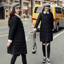 Cotton padded clothes Yellow black off white skin red M L XL 2XL Winter of 2019 Xiumi time Medium length Long sleeves thickening Buckle commute other routine Straight cylinder Solid color Korean version YR-8815 Same model in shopping mall (sold online and offline)