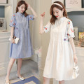 Dress You Na White dress blue dress light blue dress white dress + safety pants blue dress + safety pants light blue dress + safety pants M L XL XXL Korean version Short sleeve Medium length summer Crew neck Decor Cotton and hemp
