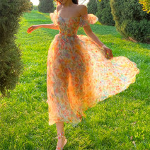 Dress Summer 2021 flowers blooming like a piece of brocade XS,S,M,L Mid length dress singleton  Long sleeves Sweet V-neck High waist Decor zipper Big swing routine camisole 18-24 years old Type X Chaoshang clothes house More than 95% polyester fiber Countryside