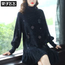 Dress Autumn of 2019 black S M L XL Middle-skirt singleton  Long sleeves street High collar Loose waist Solid color Socket Ruffle Skirt bishop sleeve Others 40-49 years old Type A Lingzi Feifei More than 95% knitting polyester fiber Polyester 100% Pure e-commerce (online only) Europe and America