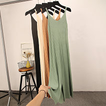Dress Summer 2020 Black, apricot, khaki, green One size fits all, one size fits all longuette singleton  Sleeveless commute V-neck Loose waist Solid color Socket A-line skirt camisole 18-24 years old Type A Other / other Korean version 202# 91% (inclusive) - 95% (inclusive) knitting cotton