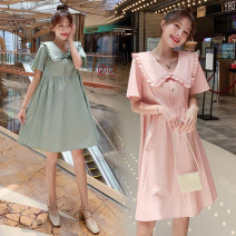Women's large Summer 2021 6016 green, 6016 Pink 4xl140-170, 5xl170-205, 6xl205-235, 7xl235-270 and 8xl270-310 Dress singleton  commute Socket Short sleeve Korean version 25-29 years old