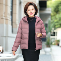 Middle aged and old women's wear Winter of 2019 fashion Cotton easy singleton  Solid color 40-49 years old Cardigan moderate Hood have cash less than that is registered in the accounts routine pocket polyester 96% and above zipper