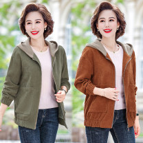 Middle aged and old women's wear Spring 2021 fashion Jacket / jacket easy singleton  Solid color 40-49 years old Cardigan moderate Hood routine routine pocket polyester 96% and above zipper
