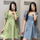 Dress Summer 2021 Green, blue S,M,L Middle-skirt Short sleeve Sweet square neck middle-waisted Solid color Socket puff sleeve YT&UR Bow tie Ruili