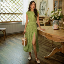Dress Autumn of 2019 Avocado Green S M L XL longuette singleton  Short sleeve commute Crew neck High waist Broken flowers Socket One pace skirt 18-24 years old Type H Retro More than 95% polyester fiber Polyester 100% Pure e-commerce (online only)
