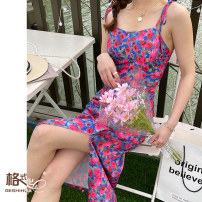Dress Spring 2021 S M L XL longuette singleton  Sleeveless Sweet square neck High waist Broken flowers Socket Pencil skirt routine camisole 18-24 years old Type A format More than 95% Chiffon polyester fiber Polyester 100% Mori Pure e-commerce (online only)