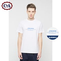 T-shirt Youth fashion White and light green routine S M L XL XXL C&A Short sleeve Crew neck standard Other leisure spring Cotton 100% youth routine Youthful vigor Spring of 2019 Alphanumeric printing cotton Same model in shopping mall (sold online and offline) More than 95%