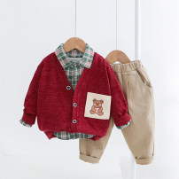 suit Other / other Brown, Burgundy, grey, blue 73cm,80cm,90cm,100cm,110cm,120cm neutral spring and autumn leisure time Long sleeve + pants 3 pieces routine No model Single breasted nothing other cotton children Expression of love Class A Cotton 95% other 5% Chinese Mainland
