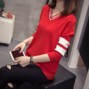 Women's large Winter of 2019 Dark blue, red, black L [100-120 kg], XL [120-140 kg], 2XL [140-160 kg], 3XL [160-180 kg], 4XL [180-200 kg] sweater singleton  commute easy Socket Korean version V-neck routine Other / other