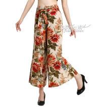 Casual pants Wutong flowers, kapok flowers, garden leaves 20: (waist 2 feet), 21: (waist 2 feet 1), 22: (waist 2 feet 2), 23: (waist 2 feet 3), 24: (waist 2 feet 4), 25: (waist 2 feet 5), 26: (waist 2 feet 6), 27: (waist 2 feet 7) Summer 2021 Cropped Trousers Wide leg pants Natural waist L1260 hemp