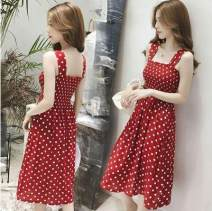Dress Summer 2020 Red, black S,M,L,XL Mid length dress singleton  commute Dot Socket Other / other Korean version 81% (inclusive) - 90% (inclusive)