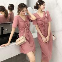 Dress Winter of 2018 8940 pink dress, 8940 black dress M,L,XL,XXL longuette singleton  Short sleeve One word collar middle-waisted Solid color Socket Irregular skirt 8940 dress
