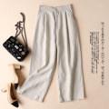 Casual pants M,L,XL,2XL,3XL Spring 2021 Ninth pants Wide leg pants Natural waist original routine 81% (inclusive) - 90% (inclusive) hemp