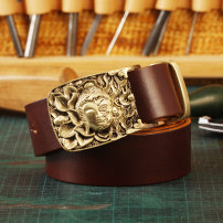 Belt / belt / chain top layer leather male belt cowboy Single loop Young and middle aged Smooth button Glossy surface Glossy surface 3.8cm copper alone 100cm 105cm 110cm 115cm 120cm 125cm 130cm Autumn and winter 2017 no