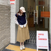 skirt Spring 2021 S,M,L khaki Mid length dress commute High waist A-line skirt Solid color Type A 18-24 years old 51% (inclusive) - 70% (inclusive) cotton Pleating Korean version