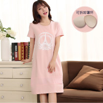 Nightdress Know cool Light gray, light yellow, sky blue, lotus root, orange red 160(M),165(L),170(XL),175(XXL) Sweet Short sleeve pajamas longuette summer Cartoon animation juvenile Crew neck cotton printing More than 95% pure cotton 200g and below