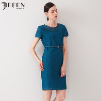 Dress Autumn of 2019 blue S M L Middle-skirt singleton  Short sleeve commute Crew neck High waist Solid color Socket A-line skirt routine Others 30-34 years old Type A JEFEN / Giffen Retro J118BS718052 More than 95% silk Mulberry silk 100% Same model in shopping mall (sold online and offline)