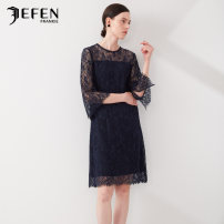 Dress Summer of 2019 blue S M L Mid length dress commute middle-waisted other 35-39 years old JEFEN / Giffen lady 31% (inclusive) - 50% (inclusive) nylon Same model in shopping mall (sold online and offline)