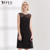 Dress Spring of 2018 black S M L XL Mid length dress singleton  Sleeveless street Crew neck middle-waisted Solid color Socket 30-34 years old JEFEN / Giffen More than 95% polyester fiber Polyester 100% Europe and America