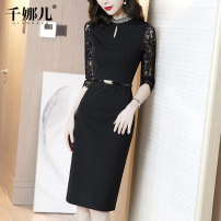 Dress Spring 2021 Black (take a picture of the belt) S M L XL XXL Mid length dress singleton  three quarter sleeve commute stand collar middle-waisted Solid color Socket One pace skirt routine 30-34 years old Type H Qianna'er Beaded zipper lace 51% (inclusive) - 70% (inclusive) nylon