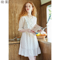 Dress Summer 2020 Wave point S M L Mid length dress singleton  elbow sleeve commute square neck High waist Dot Single breasted Ruffle Skirt pagoda sleeve Others 25-29 years old Type A Le Jardin dart / Shuxia Retro LA20_ AK201X 30% and below other nylon Viscose (viscose) 83% polyamide (nylon) 17%