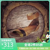 Sandals 35 36 37 38 39 Sandalwood yellow top layer leather Le Jardin dart / Shuxia Barefoot Flat bottom Low heel (1-3cm) Spring 2017 commute Youth (18-40 years old) PVC Low Gang LD10073X Cool boots Women's