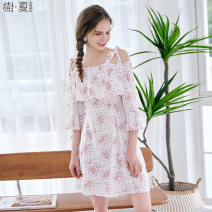 Dress Spring of 2018 snow-white S M L Mid length dress singleton  Sleeveless commute One word collar High waist routine Others 25-29 years old Le Jardin dart / Shuxia Retro printing More than 95% polyester fiber Polyester 100% Pure e-commerce (online only)