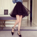 skirt Summer of 2018 S,M,L,XL Black (premium) Short skirt commute Natural waist Fluffy skirt Solid color Type A More than 95% other other Gauze, lace Korean version