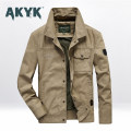 Jacket AKYK Fashion City Blue, khaki, army M. L, XL, 2XL, 3XL, 4XL (185-200kg) routine easy daily autumn Cotton 100% Long sleeves Wear out stand collar American leisure Large size routine Single breasted 2020 Straight hem No iron treatment Regular sleeve Solid color cotton More than two bags) cotton