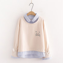 Sweater / sweater Autumn 2020 M, L Long sleeves routine Socket singleton  routine Polo collar easy Sweet routine Cartoon animation Under 17 96% and above other Embroidery, lace up, stitching, buttons Single row two buttons Mori
