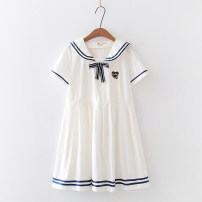 Dress Summer 2020 White love, Tibetan love, white hand holding cat, Tibetan hand holding cat Average size Short skirt singleton  Short sleeve Sweet Admiral Loose waist Solid color Socket Pleated skirt routine 18-24 years old Bows, stickers 91% (inclusive) - 95% (inclusive) other cotton college
