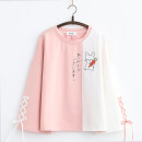 Sweater / sweater Spring 2021 Pink long sleeves, green long sleeves, green short sleeves, pink short sleeves Average size Long sleeves routine Socket singleton  routine Crew neck easy Sweet routine Cartoon animation Under 17 81% (inclusive) - 90% (inclusive) cotton cotton Cotton liner solar system