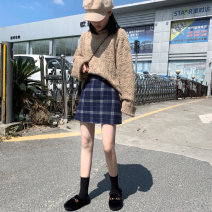 skirt Winter 2020 M,L,XL,2XL,3XL,4XL Blue lattice Short skirt Versatile High waist A-line skirt lattice Type A 71% (inclusive) - 80% (inclusive) Wool other Three dimensional decoration