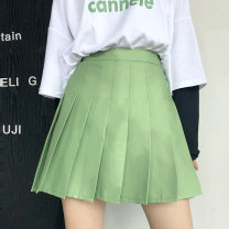 skirt Autumn of 2019 M,L,XL,2XL,3XL,4XL Green, black, gray Versatile High waist Pleated skirt Solid color Type A 81% (inclusive) - 90% (inclusive) other other Pleated, three-dimensional decoration