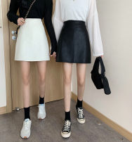 skirt Autumn 2020 M,L,XL,2XL,3XL,4XL Black, white Short skirt Versatile High waist A-line skirt Solid color Type A 51% (inclusive) - 70% (inclusive) other PU Three dimensional decoration