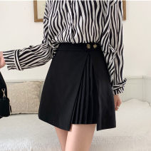 skirt Autumn 2020 M,L,XL,2XL,3XL,4XL black Short skirt commute High waist Irregular Solid color Type A 51% (inclusive) - 70% (inclusive) other polyester fiber Fold, three-dimensional decoration, asymmetry, button, pasted cloth Korean version