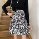 skirt Autumn 2020 M,L,XL,2XL,3XL,4XL Picture color Short skirt commute High waist Irregular Leopard Print Type A 51% (inclusive) - 70% (inclusive) other other Three dimensional decoration, asymmetry, printing Korean version