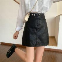 skirt Autumn 2020 M,L,XL,2XL,3XL,4XL black Short skirt commute High waist A-line skirt Solid color Type A 51% (inclusive) - 70% (inclusive) other PU Korean version