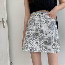 skirt Summer 2021 S,M,L,XL,2XL,3XL,4XL Black, white Short skirt commute High waist A-line skirt Abstract pattern Type A 18-24 years old 51% (inclusive) - 70% (inclusive) other polyester fiber Button, zipper, printing, light proof Korean version