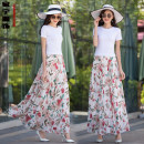 skirt Summer 2020 S. M, l, XL, 2XL, custom size longuette Versatile High waist Fairy Dress Decor Type A cq-888 Chiffon Huaqinghe Pocket, stitching, print, elastic waist