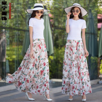 skirt Summer 2020 S. M, l, XL, 2XL, custom size longuette Versatile High waist Fairy Dress Decor Type A cq-888 Chiffon Huaqinghe Pocket, stitching, print, elastic waist