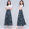 skirt Summer of 2019 S. M, l, XL, 2XL, custom size longuette Versatile High waist A-line skirt Decor Type A Chiffon polyester fiber Zipper, print